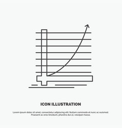 arrow chart curve experience goal icon line gray vector image