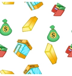 Bank and money pattern cartoon style vector