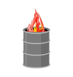 Barrel with fire Fire for homeless to become vector