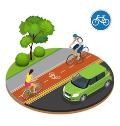 Bikers in city Cycling on bike path Bicycle road vector