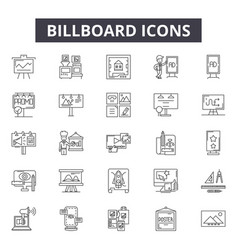 billboard line icons signs set outline vector image