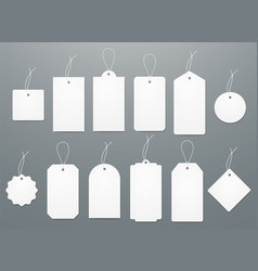 blank white paper price tags or gift tags in vector image