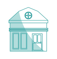 Blue shading silhouette cartoon facade small house vector
