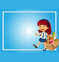 Border template with girl and box of toys vector