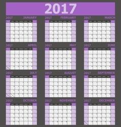 Calendar 2017 week starts on Sunday purple tone vector image