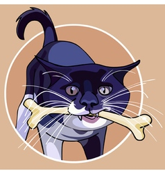 Cartoon cat with a bone in its mouth vector