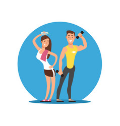 cartoon character cheerful girl and boy with sport vector image