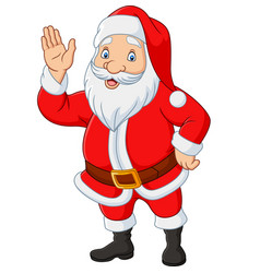 cartoon santa claus waving hand vector image