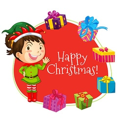Christmas card template with girl and presents vector