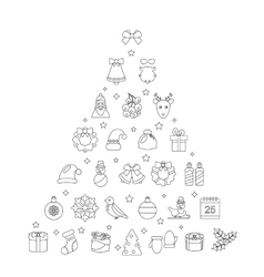 Christmas Line Traditional Symbols Simple Outline vector image
