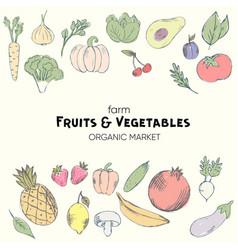 colorful organic fruits set vector image