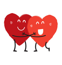 Couple in love concept two cute hearts hugging vector