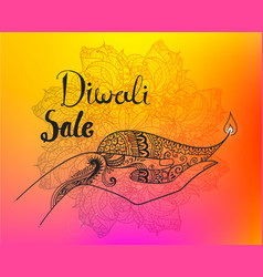 diwali hand drawn line art vector image