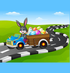Easter bunny driving a car carrying easter eggs on vector