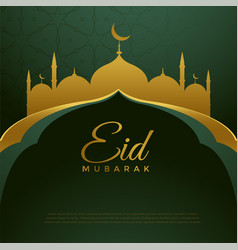 Elegant golden eid festival greeting background vector