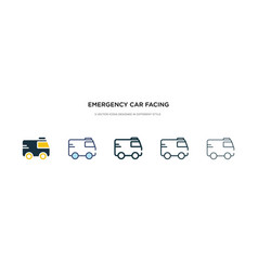 Emergency car facing right icon in different vector