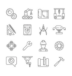 engineering icon mechanical manufacturing vector image