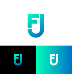 f and j letter monogram shield web icon vector image