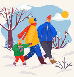 Family is having fun outside in winter day walk vector