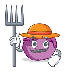 Farmer red cabbage character cartoon vector