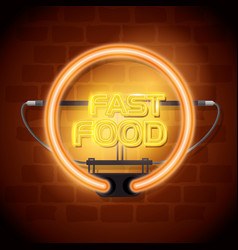 fast food neon label vector image