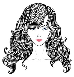 Female hand-drawn portrait vector image vector image