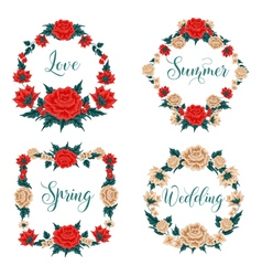 Flowers Set Floral Frames Red Roses vector image