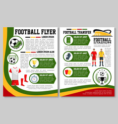 flyer for football or soccer sport match vector image