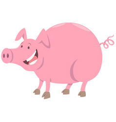 Funny pig farm animal character vector