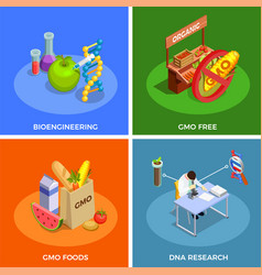 Genetically modified organisms isometric concept vector