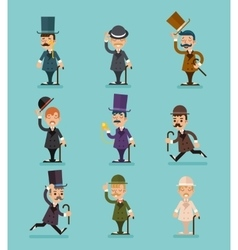 Gentleman Victorian Characters Different Poses and vector