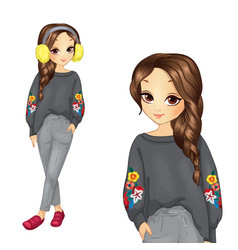 Girl in gray trousers and sweater vector