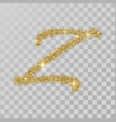gold glitter powder letter z in hand painted style vector image
