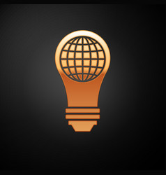 Gold light bulb with inside world globe icon vector