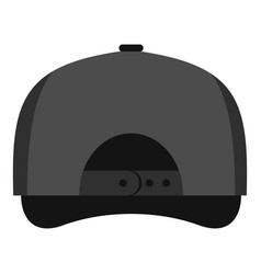 gray baseball cap back icon flat style vector image