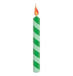 Green birthday candle vector image