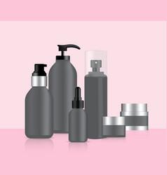 Grey bottles set background vector