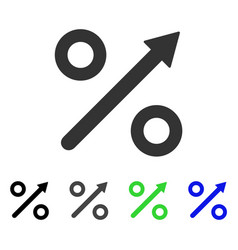 Growing percent flat icon vector