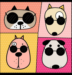 hand drawn cute dog face characters set vector image