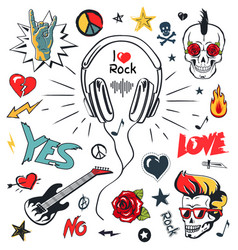 headphones music musical patches stickers icons vector image