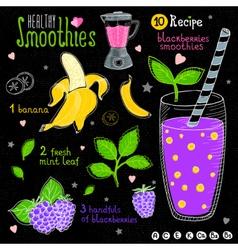 Healthy smoothie recipe set vector