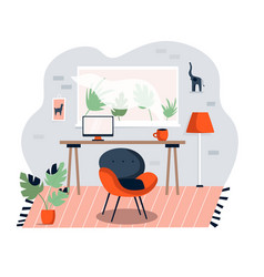 Home office interior cozy working space vector