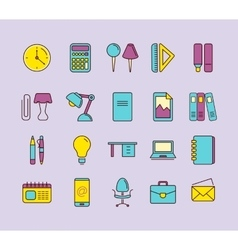 icons set stationery vector image