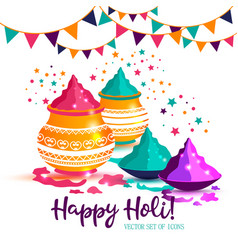 indian festival of happy holi colorful background vector image