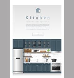 Interior design Modern kitchen banner 4 vector