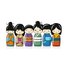Japanese dolls sketch for your design vector