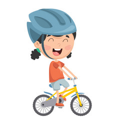 Kid riding bike vector