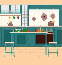 Kitchen furnished room with vegetables vector