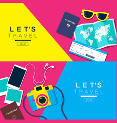 Lets travel layout flat design vector