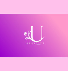 letter u linked fancy logogram flower logotype vector image